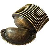 DFHM 12 x Schelpgrepen Antieke Ladekast Ijzeren Handgrepen Meubelknoppen Set Halve Cirkel Knop 8.2cmx3.5cm Brons