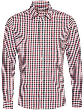 Almsach Trachtenhemd Gerold Slim Fit Zweifarbig in Rot und Dunkelgrün Inklusive Volksfestfinder