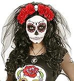 Zombiebraut Schleier mit Blumen und Totenkopf Rot zum Witwen, Hexen oder Gothic Kostüm