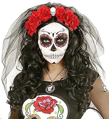 Zombiebraut Schleier mit Blumen und Totenkopf Rot zum Witwen, Hexen oder Gothic Kostüm (Gothic Hexe Kostüme Erwachsene)