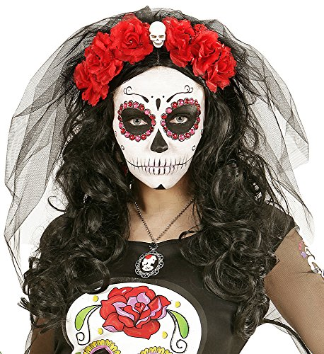 Zombiebraut Schleier mit Blumen und Totenkopf Rot zum -
