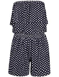 Womens Polka Dot Printed Ladies Bandeau Frill Boob Tube Shorts Playsuit Jumpsuit