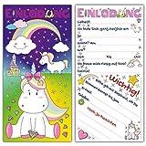 12 Einladungskarten EINHORN im Set - niedliche Karte mit süßem Einhorn Motiv, Schloss, Diamanten - Geburtstagseinladungen für Mädchen Kindergeburtstag, Mädels Party, Geburtstagsfeier, Einhörner Event