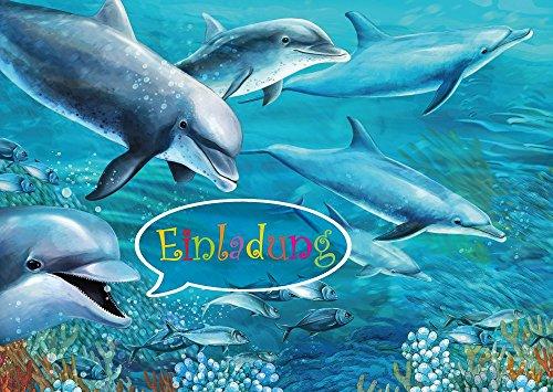 10 Delfin-Einladungskarten mit Umschlägen zum Kindergeburtstag/Pool-Party im Schwimmbad/Freibad (10690), 10 St. inkl. 10 Briefumschlägen