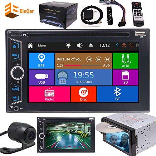 EINCAR 6,2-Zoll kapazitive Digital-Monitor-Doppel-DIN-in-Schlag-Auto GPS-Navigation FM AM RDS DVD-Player Stereo-Touch Screen mit Bluetooth für Universal Car Free Backup-Kamera-Fernsteuerung