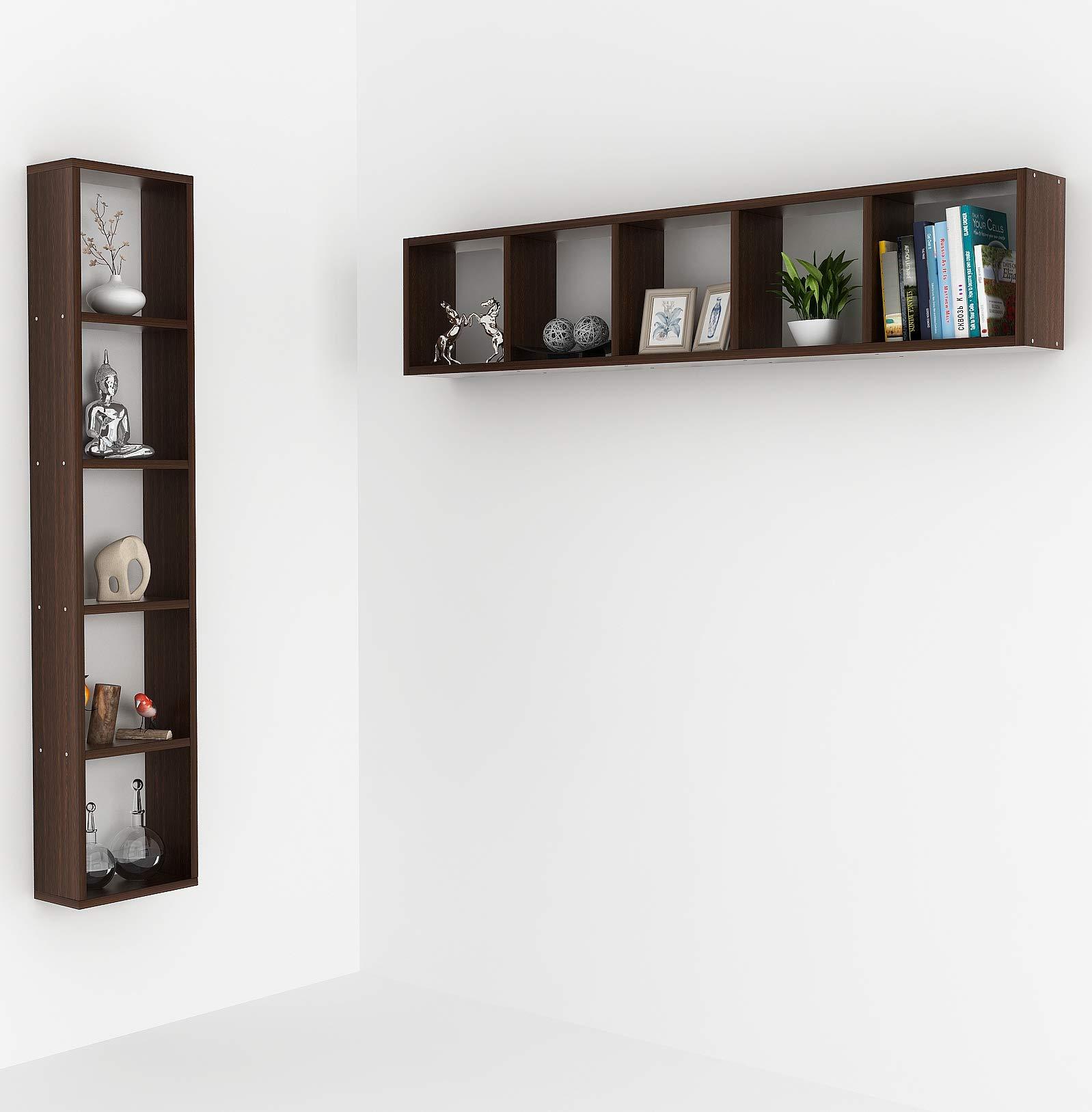 buy online 1cc06 db94d Bluewud Walten Wall Mount Book Shelf Rack/Display (Standard, Wenge)