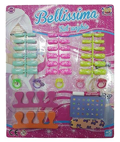 Takestop® set gioco bellissima 36 tips unghie finte decorate tips lima 5 anelli 2 distanziatori adesivi manicure bambine bimbe anni 5+