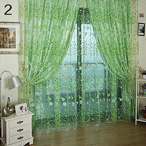 Pastoral Floral Voile Fenster Tür Vorhang Balkon Volants Fall Panel Sheer amesii - Hanging Vorhang Rod