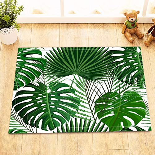 ziHeadwear LB Tropical Jungle Leaves Decor Small Bedroom Rugs, Anti Skip Rubber Backing Comfortable Soft Surface, Classic Green Palm Leaf Artwork Rug for Bathroom 15 x 23 Inches