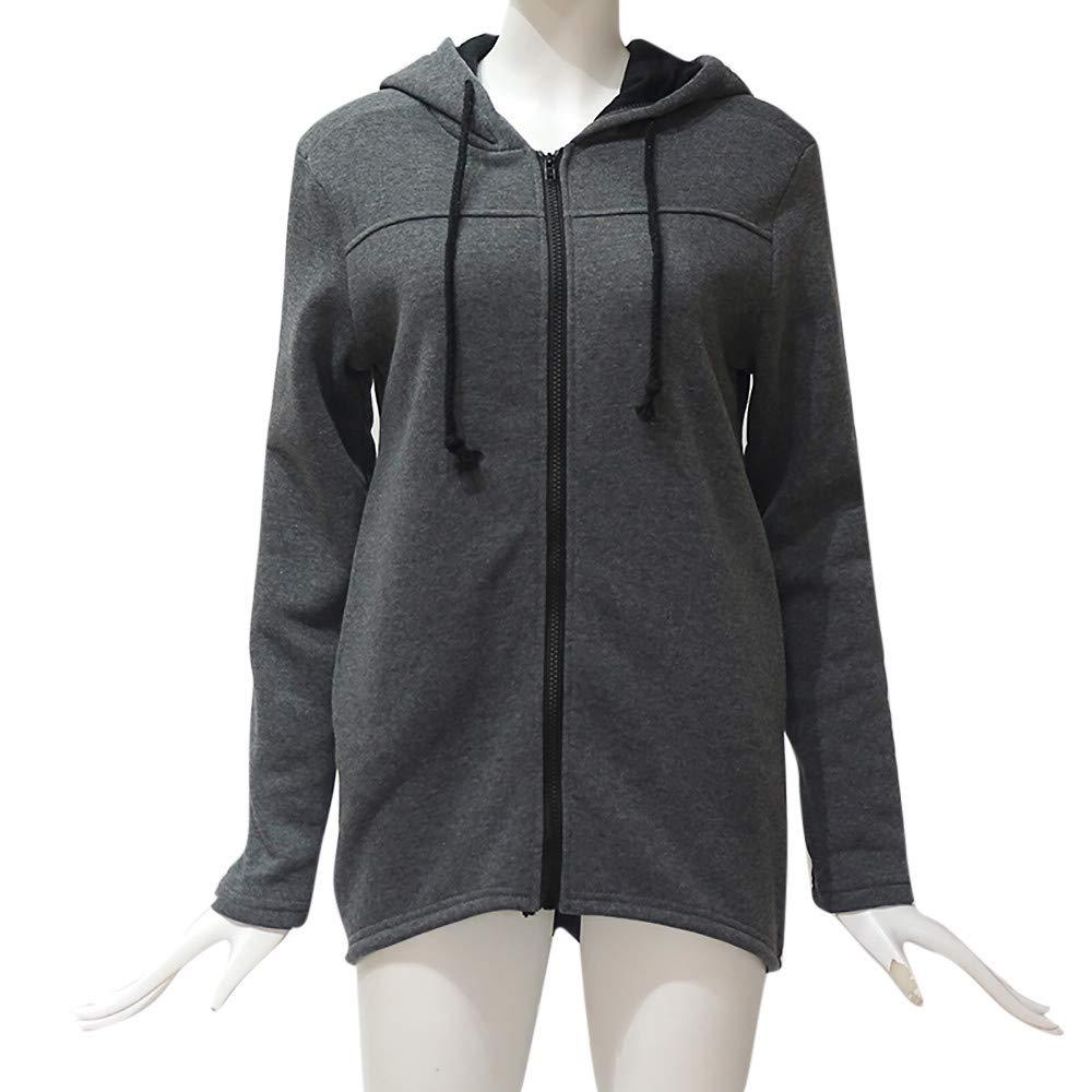 Festiday Blouses For Women Plus Size Clearance Sale 2018 New Casual Women's Fashion Hoodies & Sweatshirts Fashion Women Zipper Long Sleeve Sweatshirt Coat Outwear Hooded Jacket Overcoat