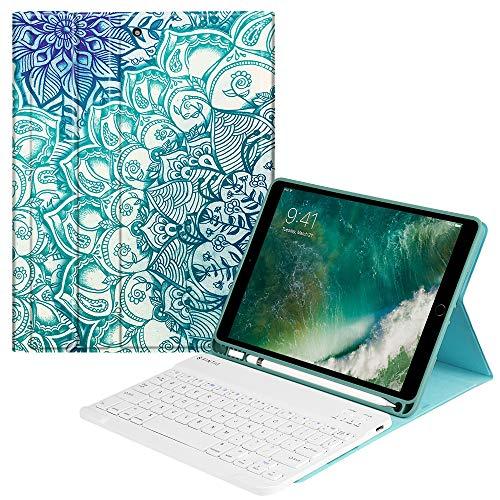 Fintie Tastatur Hülle für iPad 9.7 2018 (6. Generation), Soft TPU Rückseite Gehäuse Keyboard Case mit eingebautem Pencil Halter, magnetisch Abnehmbarer QWERTZ Bluetooth Tastatur, smaragdblau Generation Gehäuse