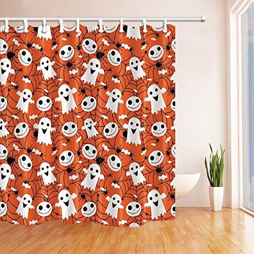 GAOFENFFR Halloween Kindisch Duschvorhänge Niedlichen Geist auf Spinnennetz für Mädchen Jungen Mehltau Resistant Bad Duschvorhang 180X180 cm
