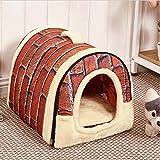 2 in 1 Haustier Haus und Sofa, Faltbare Weiche Warme Haustier Nest Hund Katze Haus Bett mit Abnehmbaren Kissen Haustier Waterloo Maschine waschbar (L(55*45*45cm), Vintage Wandfliesen)