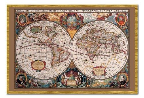 Mappa del mondo Poster stile del XVII secolo con inchiostro oro sughero Pin Lavagnetta Rovere Con Cornice-96.5x 66cms (circa 96,5x 66cm)