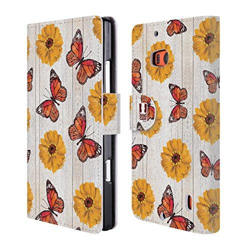 Head Case Designs Farfalle Charm Campagnolo Cover telefono a portafoglio in pelle per Nokia Lumia Icon / 929 / 930