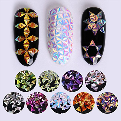 Born Pretty 0.7g Animal AB Color Nail Sequins Chameleon Triangle Iridescent Flakies 3D Nail Art Decoration 9 Colours