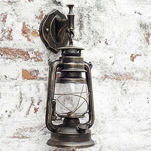 Vintage Classic Kerosin Lamp Cage Antique Wandleuchte Schmiedeeisen Retro Industrial Rotbraun/Schwarz Bronze Wandleuchte Gelb @ Rot - Antique Bronze Outdoor-wandleuchte