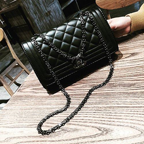 Die neuen Pakete LiZhen tide stilvolle Mädchen Paket retro kleine Pakete klicken Sie umhängetaschen Messenger Bag Kleine Heung-wind Argyle Kette Pakete, Schwarz