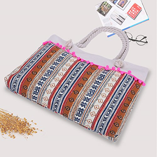 Lace Sezione Vertical Stripes Lace Borsa Da Spiaggia Delle Donne Di Grande Capienza Portable Canvas Bag Multi