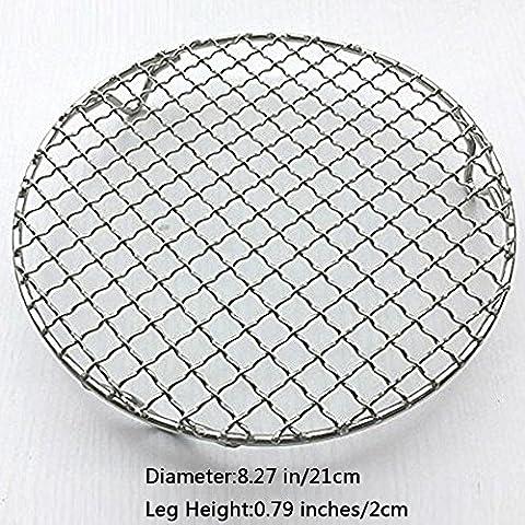 fittoway multi-usages Rond en Acier Inoxydable Croix fil rond vapeur Cuisson Barbecue Racks de refroidissement/carbone Net/grilles/Poêle grille avec pieds Diameter-8.27 inches