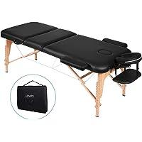 Naipo Table de Massage Lit Pliante 3-Section Professionnel Portable Ergonomique Table Canapé Pieds en Bois pour Thérapie Salon Massage Thaïlandais Suédois