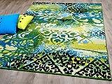 Designer Teppich Funky Vintage Modern Blau Grün in 4 Größen