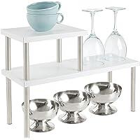 mDesign étagère cuisine à 2 étages – range vaisselle étroit pour plans de travail et dans les armoires – rangement…