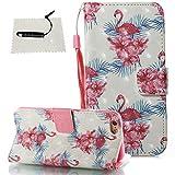 iPhone 6S Hülle, Schutzhülle für iPhone 6 / 6S Schwarz TOCASO Glitter Tasche Wallet Case Handyhülle für iPhone 6 / 6S Flip Case Lederhülle Handy Zubehörund Pen-Flamingos