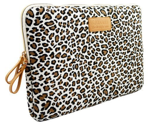 kayond® Cute Leopard 's Spots Leinwand Ultraportable Neopren 25,4–38,1 cm für Laptop/Notebook Computer/MacBook/MacBook Pro/MacBook Air Sleeve Schutzhülle Tasche Cover White Leopard's Spots 15-15.6 inch (Laptop-tasche Leopard)