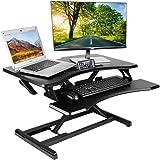 Kranich Höhenverstellbarer Schreibtisch Sit-Stand Workstation, Steharbeitsplatz Sitz-Steh-Schreibtisch, Stand-up-Computerschreibtisch Schwarz