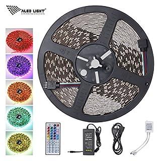 ALED LIGHT® LED Strip Licht Streifen 10m Band Leiste mit 600 LEDs (SMD 5050) Nicht Wasserfestt, 6A 24V Netzteil & Fernbedienung (44 Tasten)