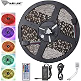 ALED LIGHT® Ruban Lumineux 5050 SMD Multicolore RGB 600 LEDs Non-Étanche 10 Mètres (32,8 ft) Bande LED Adapteur Flexible Strip Light avec Télécommande à Infrarouge 44 Touches et Alimentation 3,5A 24V