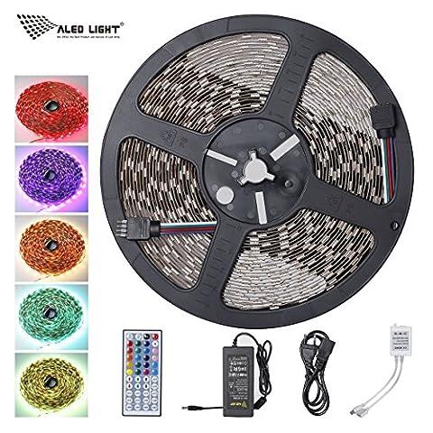 ALED LIGHT® Ruban Lumineux 5050 SMD Multicolore RGB 600 LEDs Non-Étanche 10 Mètres (32,8 ft) Bande LED Adapteur Flexible Strip Light avec Télécommande à Infrarouge 44 Touches et Alimentation 3,5A 24V