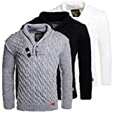 Young & Rich Herren Strick Rollkragen Pullover Schalkragen Stehkragen slimfit mit Knebelverschlüssen, Grösse:XL;Farbe:Weiß