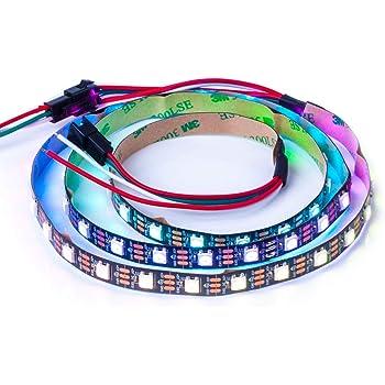 BTF-LIGHTING WS2812B 1m 60leds flexible individuellement adressable bande couleur rêve non-étanche DC5V PCB noir