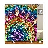 Knbob Duschvorhang Hipster Blume Stil 4 Shower Curtain 180X180CM Inkl. Duschvorhangringe Badezimmer Vorhänge