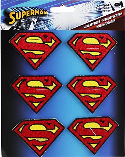 SUPERMAN 6 pc Logo Set, Officially Licensed DC Comics Originals, High Quality Iron-On / Sew-On, 2
