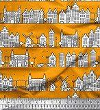 Soimoi Orange Moos Georgette Stoff Windmühle & Amsterdam