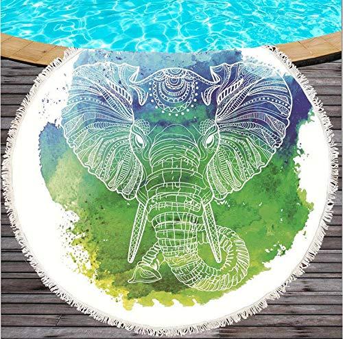 DDBBhome Toalla de Playa Redondo de Algodón cm. con Elefantes de Colores...