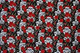 "All Products : Prestige 54"" Wide Skulls & Roses 100% Cotton Dress Fabric Tattoo Goth Punk - Per Metre (Black)"