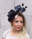 Rose Gold Black Sequin Orchid Flower Fascinator Hat Races Hair Clip Vintage 2723 *EXCLUSIVELY SOLD BY STARCROSSED BOUTIQUE*