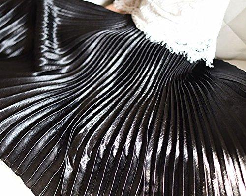 Femmes Rétro Jupe Basique Plissée Tour de Taille Elastique Elégante Longue Jupes Noir