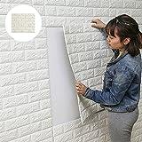 Pawaca 3D Wandaufkleber, DIY Selbstklebende Schaum 3D Soft Brick Tapete Lärmschutz Tapete Wei?Brick Muster Wandaufkleber für Kinder Schlafzimmer Wohnzimmer TV Hintergrund- (1PC 60 X 60CM)