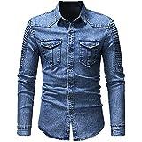 Denim Shirt Men's Cotton Jeans Shirt Fashion Fall Slim Long Sleeve Fashion Washed Top Blue