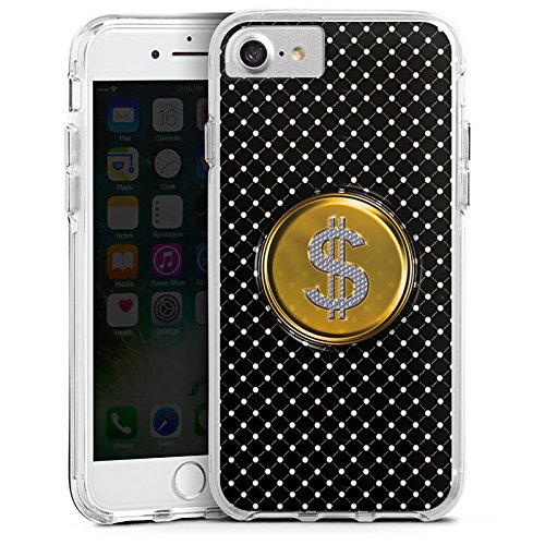 Apple iPhone 7 Bumper Hülle Bumper Case Glitzer Hülle Dollar Geld Punkte Bumper Case transparent