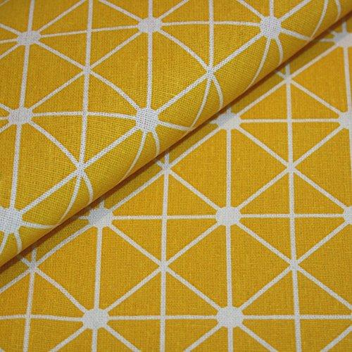 Canvas-Stoff Geometrisch gemustert Baumwolle Meterware - gelb mit weißem Strich-Muster - Nähen, Dekostoff, Bezugsstoff - Preis pro Meter (Stoff Geometrisches Muster)