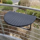 DEGAMO Balkonhängetisch 60x40cm, Metall + Polyrattan schwarz