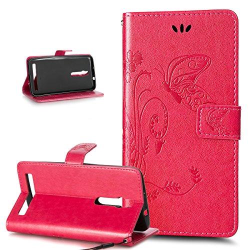 Kompatibel mit ASUS ZenFone 2 5.5 Hülle,Prägung Groß Schmetterling Blumen PU Lederhülle Flip Hülle Cover Ständer Karten Slot Wallet Tasche Schutzhülle für ASUS ZenFone 2 ZE550ML/ZE551ML 5.5