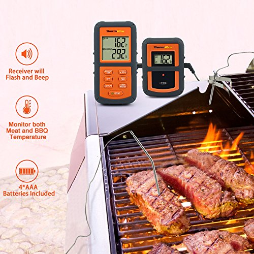 ThermoPro TP-08 Digital Wireless Remote Meat Thermometer, Barbecue Thermometer, Oven Thermometer – Dual Probe for Kitchen Cooking, BBQ Smoker Grill Oven – Monitors Food Temperature From 300 Feet Away, Batteries Included