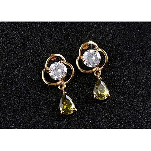 Boucles d'oreilles fleur cristal swarovski elements zirconium plaqué or Vert